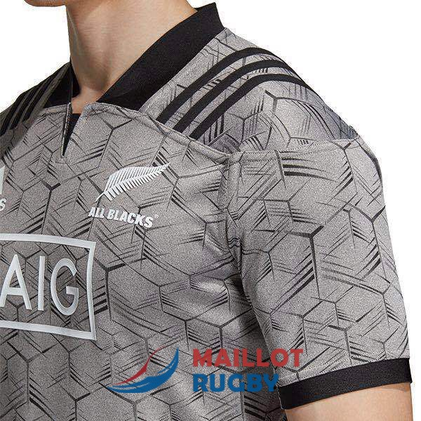 all blacks rugby maillot entrainement gris 2018-2019