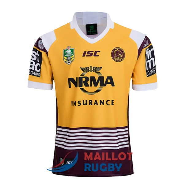 brisbane broncos rugby maillot commemorative jaune rouge 2018-2019 [MY-30]