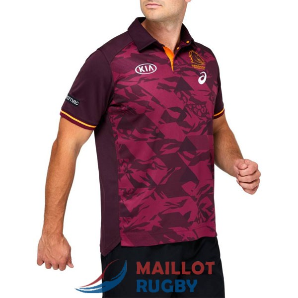 brisbane broncos rugby polo rouge 2021