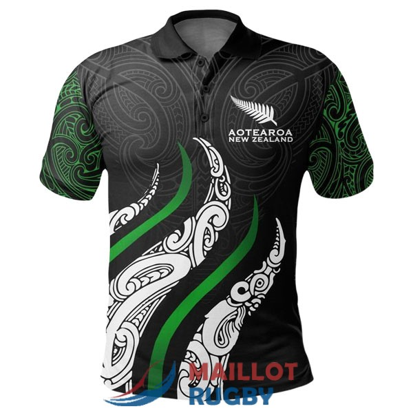 maori all blacks rugby polo noir blanc vert 2020-2021