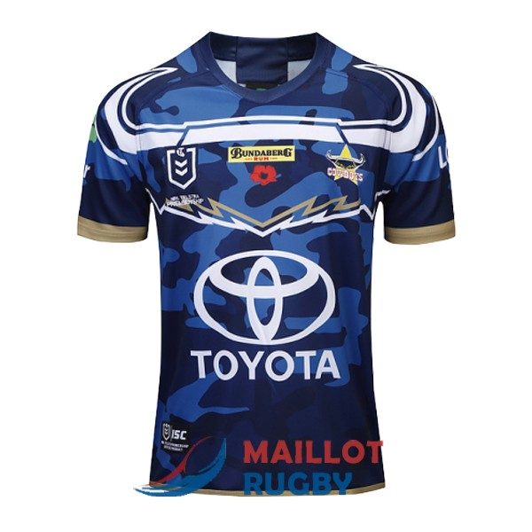 north queensland cowboys rugby maillot commemorative camouflage bleu 2019