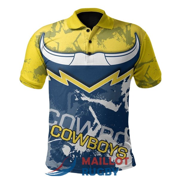 north queensland cowboys rugby polo jaune bleu 2020-2021