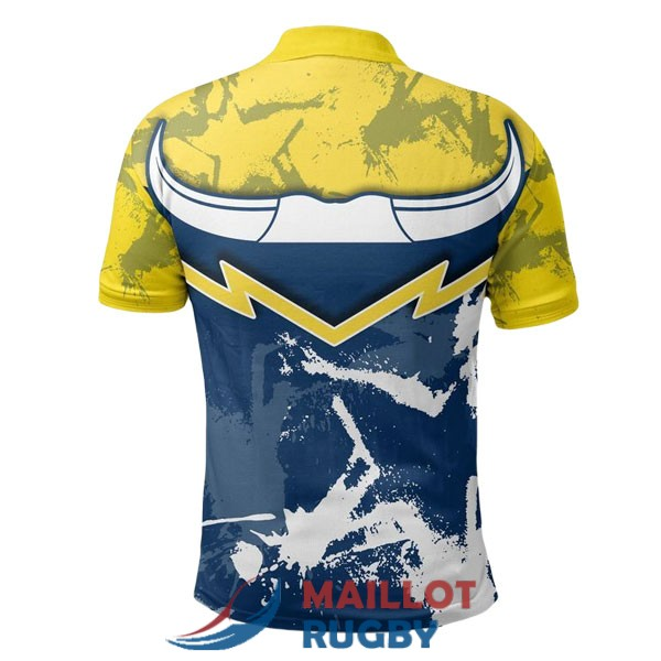 north queensland cowboys rugby polo jaune bleu 2020-2021<br /><span class=