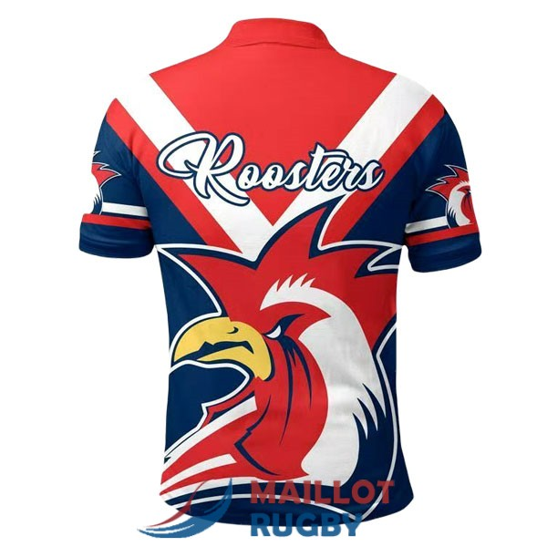 sydney roosters rugby polo rouge blanc bleu 2020-2021