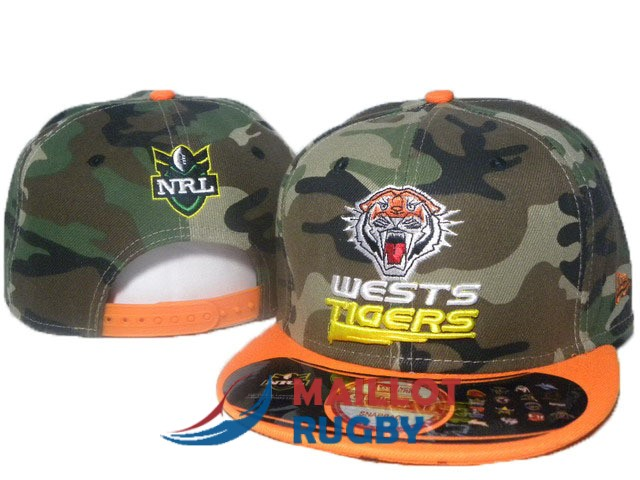 wests tigers NRL casquettes camouflage orange