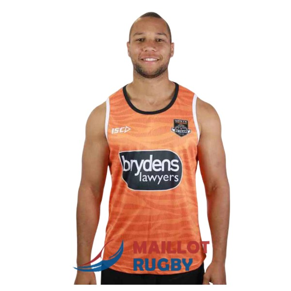 wests tigers rugby debardeur orange 2019